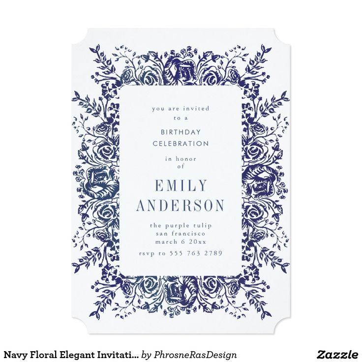 Navy Floral Elegant Invitation #zazzle #invitation #stationery #tabletop #flowers #floral #organic #original #illustration #designer #suite #elegant #stylish #phrosneras #phrosnerasdesign #calligraphy