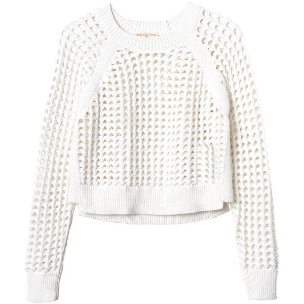 Rebecca Taylor Long Sleeve Open Lattice Sweater (2933000 BYR) ❤ liked on Polyvore featuring tops, sweaters, shirts, jumpers, white, white jumper, crop shirts, chunky white sweater, white long sleeve shirt and chunky sweater