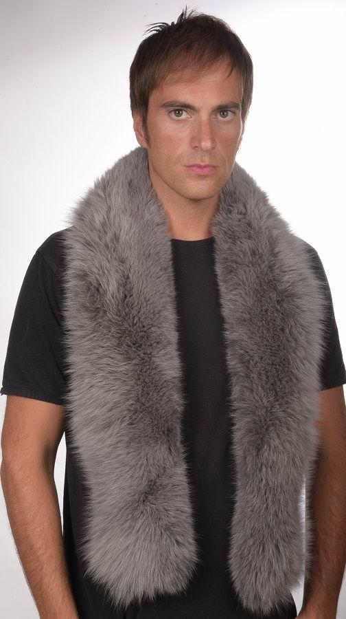 Sciarpa in pelliccia di volpe azzurra per uomo   www.amifur.it