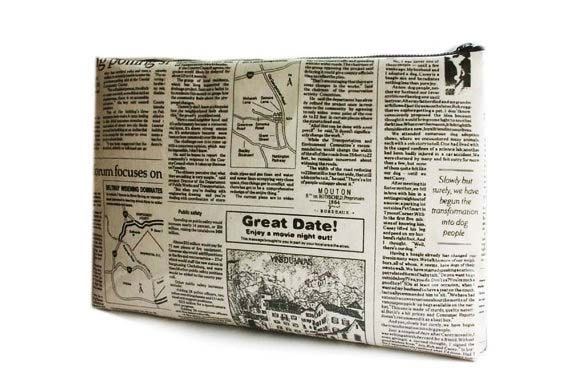 """15 """" Macbook or Laptop sleeve with zipper closure -News paper  -Ready to ship. $40.00, via Etsy."""