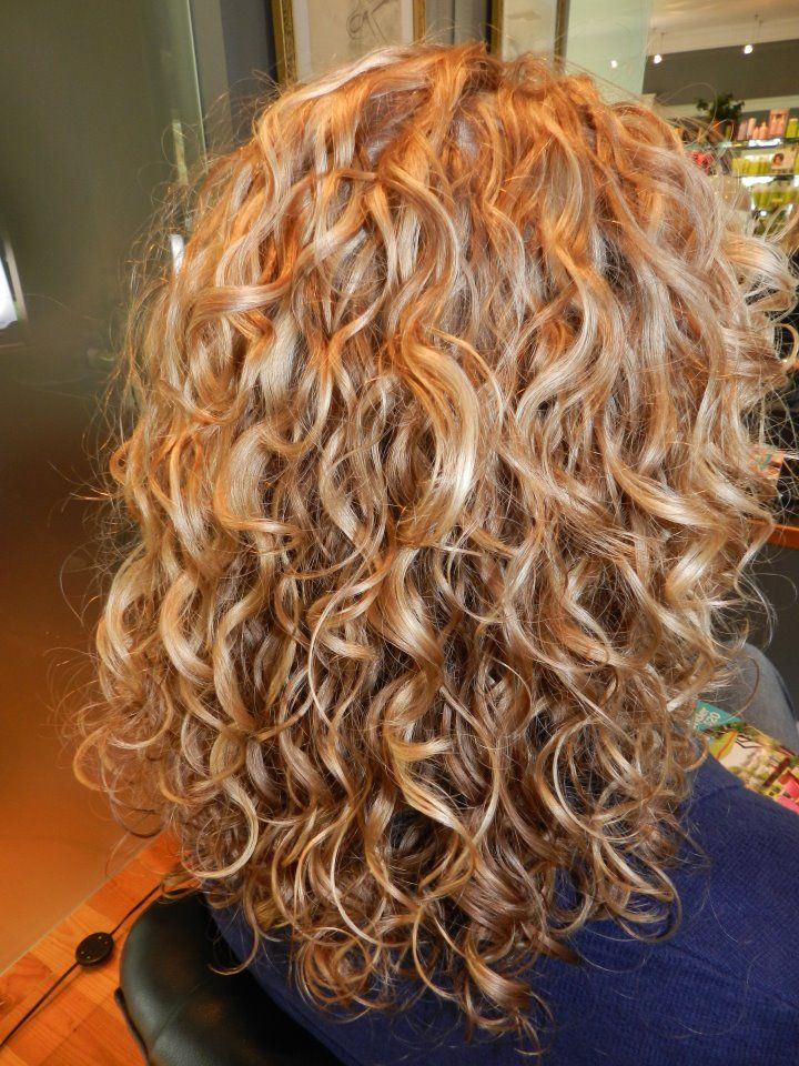 Medium length, blonde curls! Highlights, lowlights, dry cutting and Deva Curl styled by Katt of Canvas Studios, Missoula. - shape for now