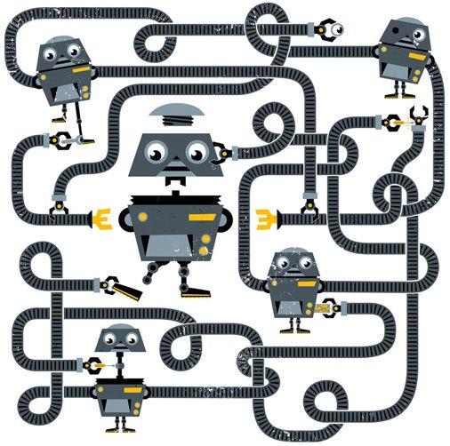 New Scientist. Self-replicating robots Editorial illustration by Peskimo