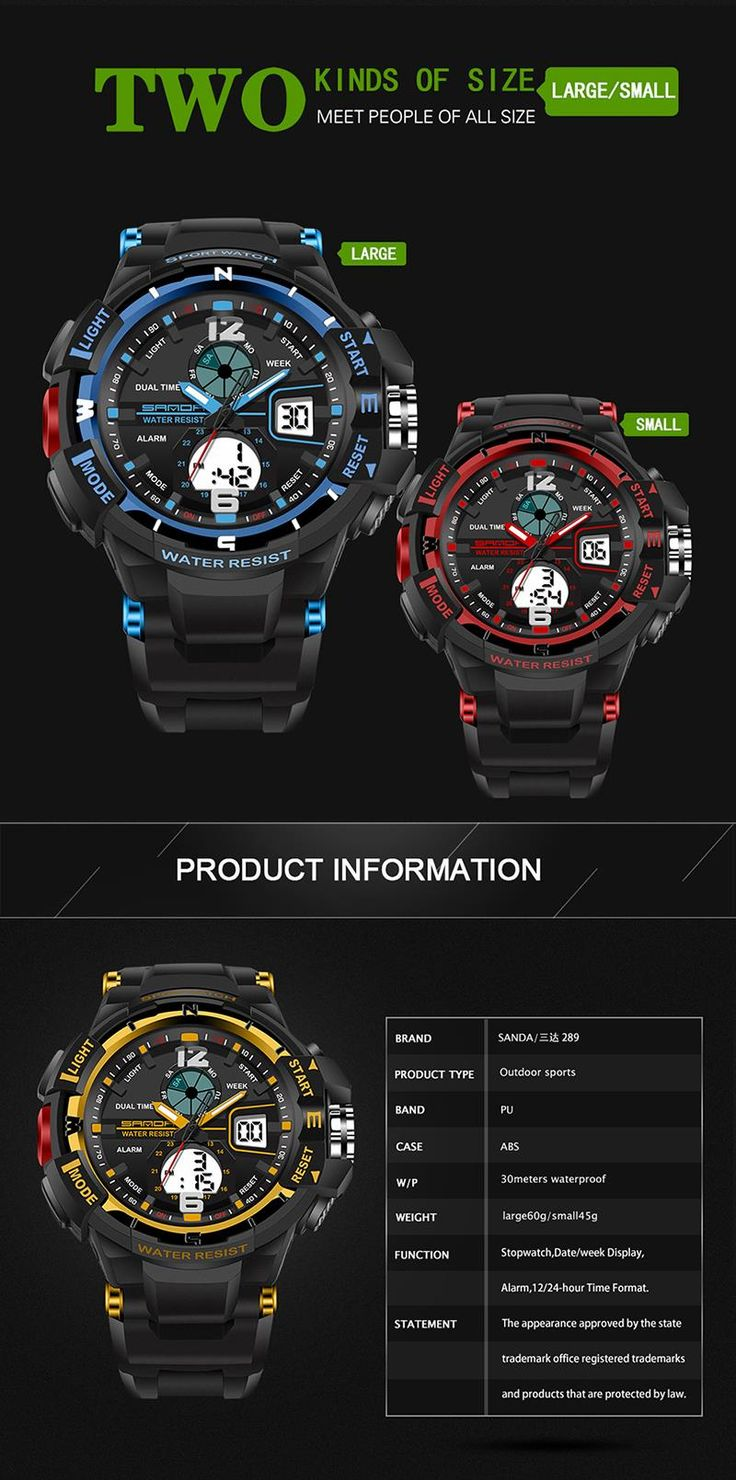 SANDA 289 Fashion LED Dual Display Men Watch 30M Waterproof Sport Digital Watch