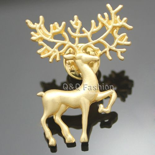 Women Gold Reindeer Deer Horn Stag Blouse Shirt Collar Lapel Brooch Pin Punk Top Jewelry 2017 New