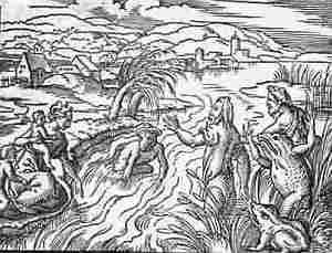 Oude gravure van Latona en de Lycische boeren.