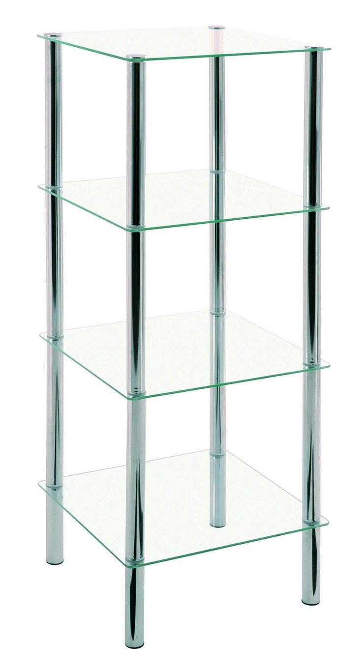Emden Clear Glass & Chrome Tall Display Stand (90240)
