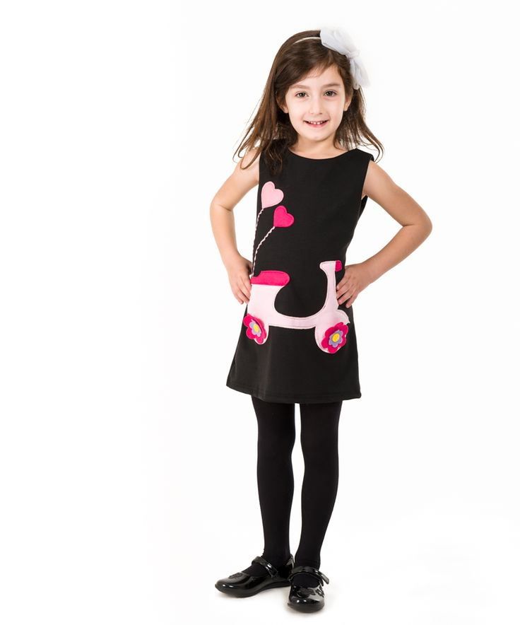 Handmade girls dress,appique dress,felt, girls scooter, pink hearts,baby and toddler dress,excellent quality fabrics