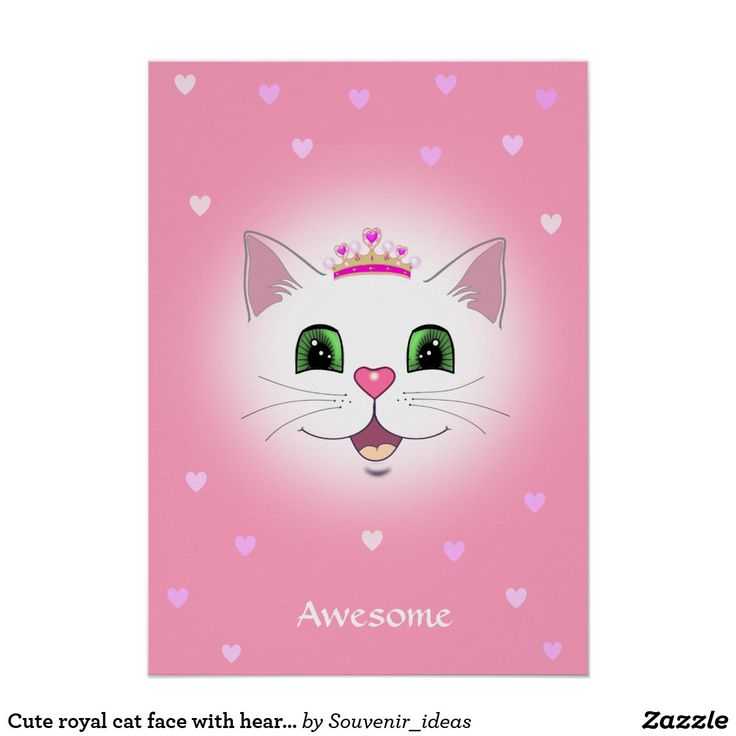 Cute royal cat face with hearts on pink poster zazzle