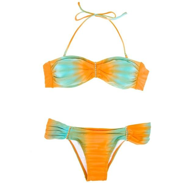 Blue Man Tie-dye Brazilian Bikini With Bandeau Top - Tie Dye Laranja ($68) ❤ liked on Polyvore featuring swimwear, bikinis, bikini tops, orange, bandeau bikini top, orange bikini top, blue bikini, low rise bikini and tie dye bikini