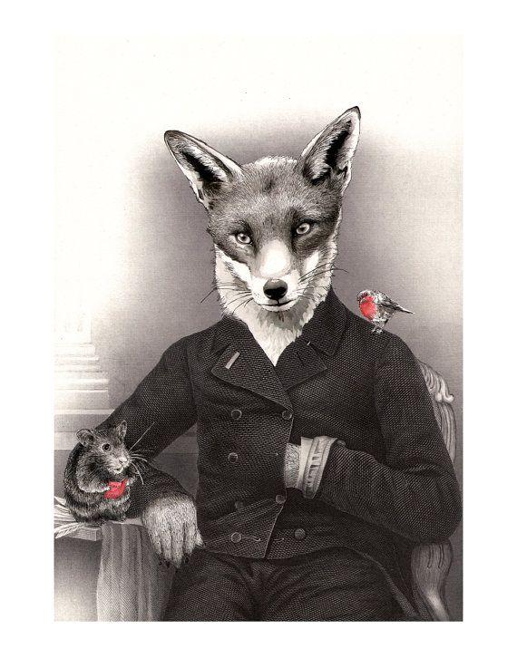 Mr Christmas Fox  - Art print