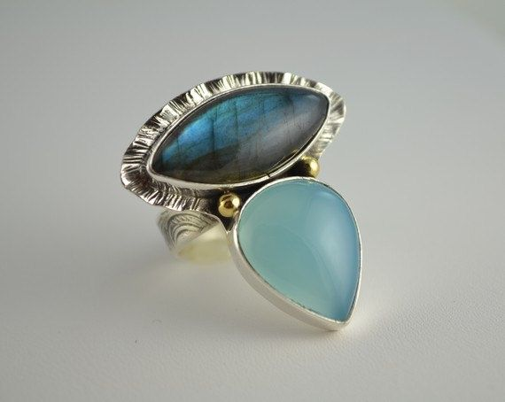 Labradorite Ring - Artisan Metalsmith Ring - Statement Labradorite Ring via Etsy