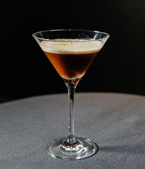 A shot of espresso and coffee liqueur add potency to this elegant cocktail from Pied à Terre. - Marcus Eaves