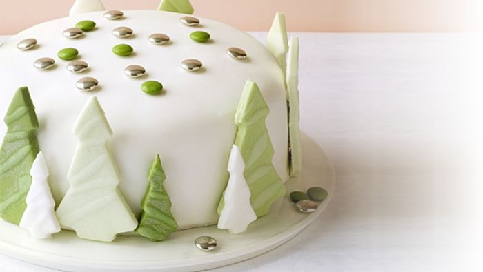 How to ice a Christmas cake with a fun forest pattern.
