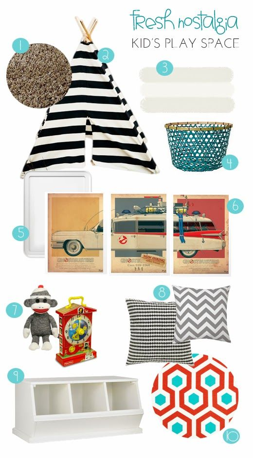 fresh nostalgia kid's play space via sarahmstyle.ca  a mix of modern colourful prints and vintage-inspired art