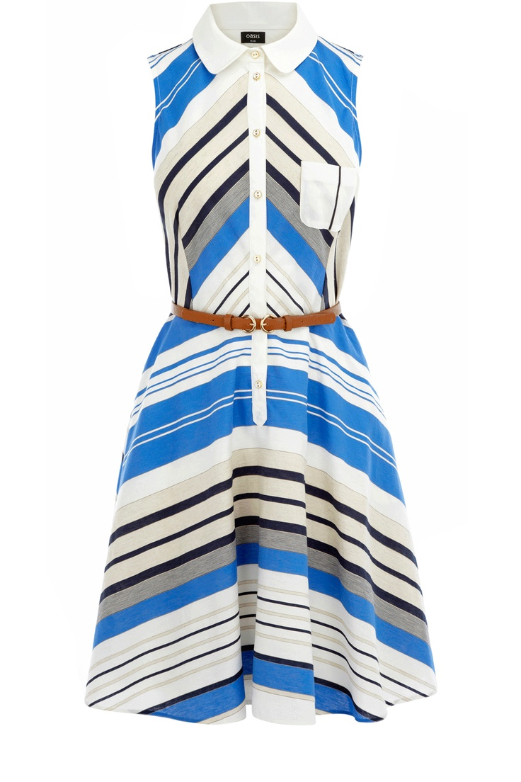 Oasis Shop | Multi Blue Collar Striped Dress | Womens Fashion Clothing | Oasis Stores UK