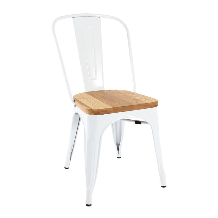 Tolix chair in white with timber seat Suitable for indoor only Gloss finish