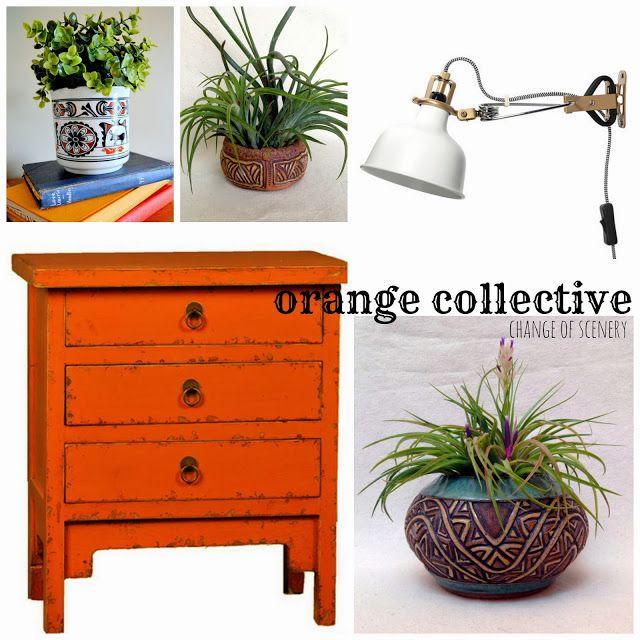 change of scenery, nightstand plants, night stand ideas, orange nightstand, eclectic night stand, wall lighting
