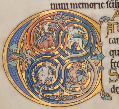 Glasgow University Library. The Hunterian Psalter. England: c. 1170. Sp Coll MS Hunter U.3.2 (229). folio 125v: inhabited initial C (psalm 97)