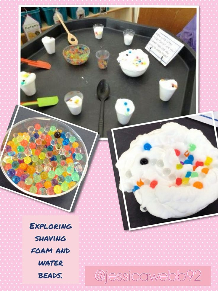 Water beads and shaving foam. The children loved making cakes and pies!