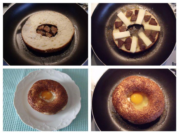 Yumurtalı  Kaşarlı  Simit  Tava -----Egg-fried tambourine pan