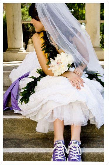 Converse + wedding dress: Shoes, Wedding Dressses, Purple Converse, Wedding Dresses, Wedding Ideas, Weddings, Dream Wedding, Bride, Weddingideas