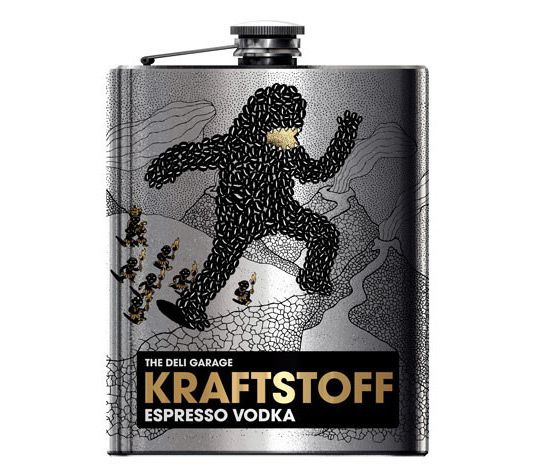 The flasks can hold 0.2 litres. The writing is in German, This vodka flavour is espresso. The package design won an award at this year's German Art Director's Club (ADC) Competition.