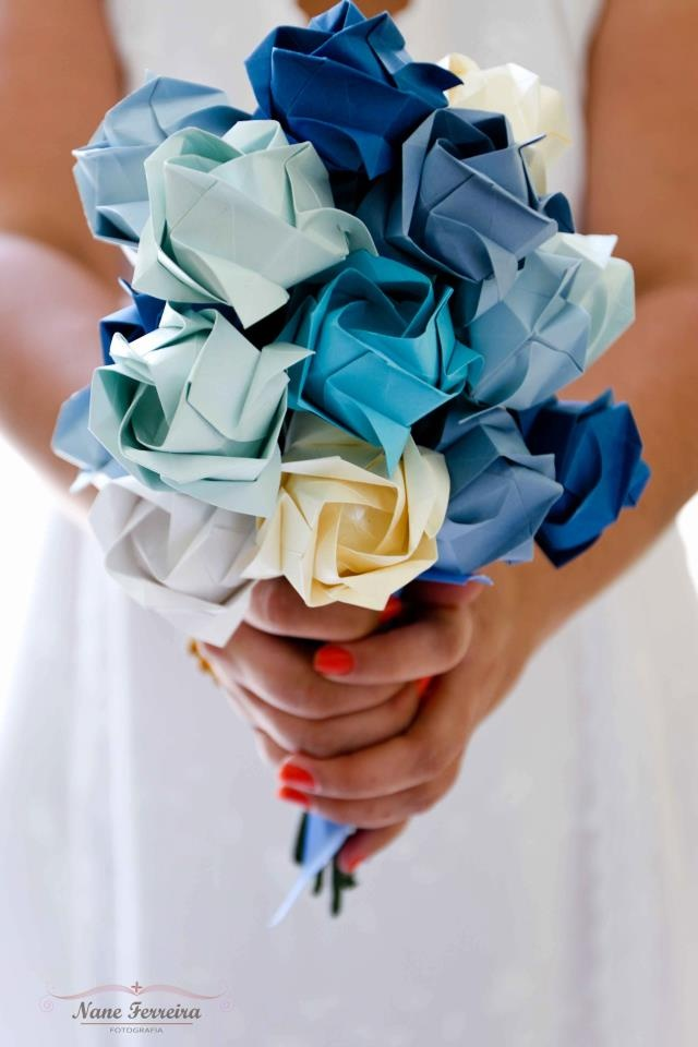 Ramo de novia de flores de papel azul moderno actual Creative Blue Paper flowers DIY modern wedding buquet