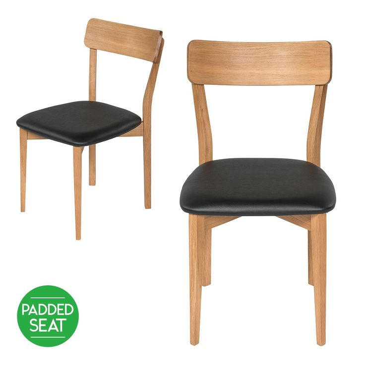 Set of 2 - Ethan Retro Scandinavian Style Dining Chair - Oak with PU Seat