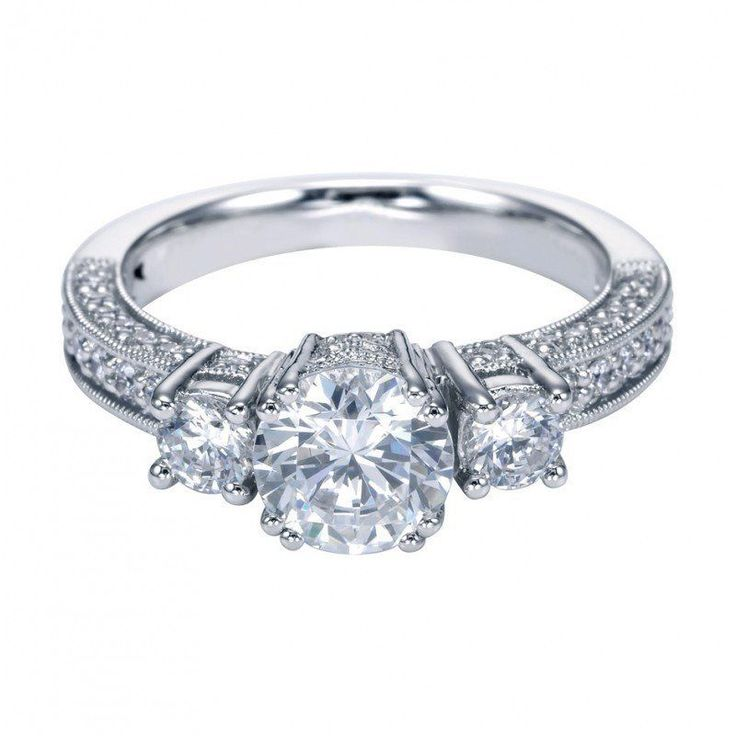 1.60cttw 3-stone plus diamond engagement ring with pave diamond set basket heads