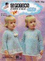vintage baby dress fair isle border pompoms 4ply 1970s dress knitting pattern girls