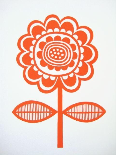 Scandinavian Flower screen Print by Jane Foster
