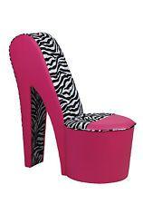 50% OFF Girls Pink Zebra Chair, Diamante Shoe, Diamante Bed, Pink Ottoman Bed