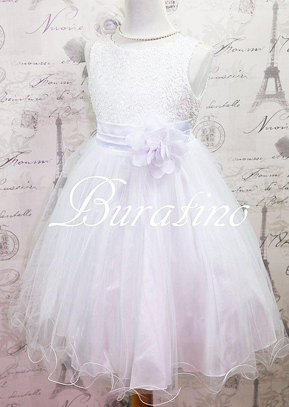 Flower Girl  Dress Communion Dress WHITE  Sequin Double Mesh Wedding, Communion  Girls Toddler Flower Girl  Dress (ets0155wt)