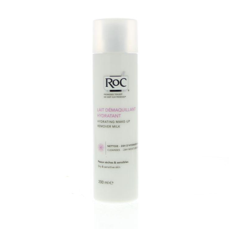 RoC Reiniging Hydrating Make-Up Remover Milk Melk Droge/Gevoelige Huid 200ml  Description: RoC Lait Démaquillant Hydratant - Hydraterende Reinigingsmelk. Onze huid ondergaat elke dag de invloed van een externe omgeving wat tot huidproblemen kan leiden. Het reinigen is de eerste handeling die onzuiverheden make-up-resten en dode huidcellen verwijdert zodat de huid gezond en stralend blijft. Eengoede reiniging van de huid zorgt ook voor een optimale werking van je verzorgingsproducten. Deze…