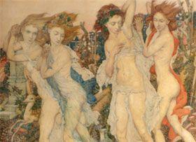 Noel Laura Nisbet, Dryads in flight, oils on canvas. Sold for £11,280