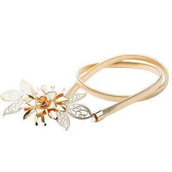 Women Golden Metal Flower Elastic Stretch Waist Belt Strap Cummerbund Dress Waistband at Banggood
