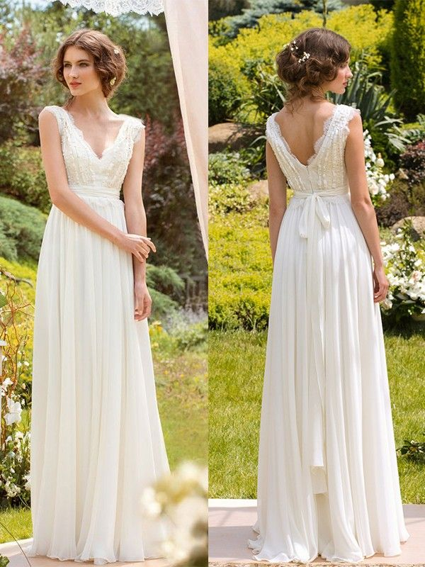 A-Line/Princess Sleeveless V-neck Chiffon Lace Floor-Length Wedding Dresses