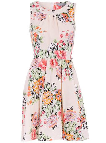 Petite floral high neck dress
