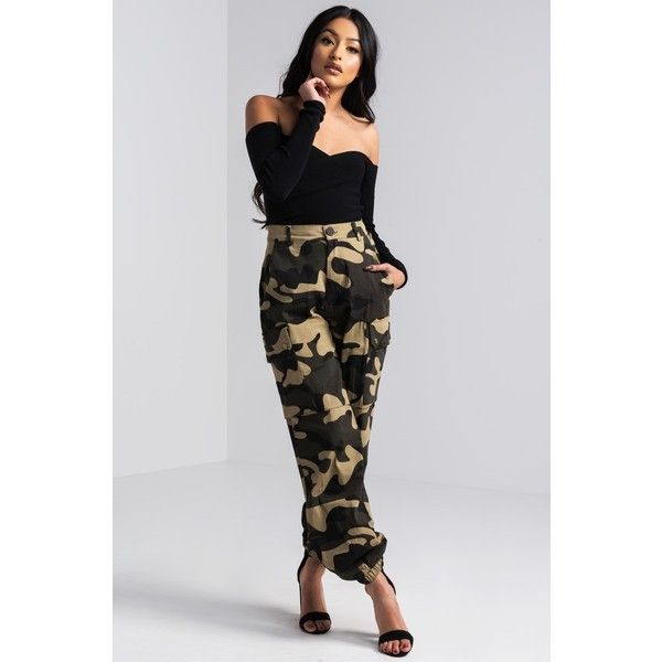 Salute Now Army Camo Cargo Pants ($40) ❤ liked on Polyvore featuring pants, cuff pants, high waisted trousers, cuffed pants, army print pants and high waisted pants