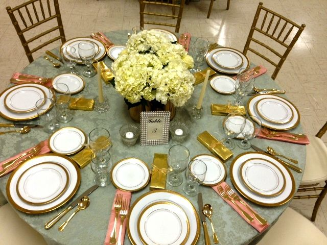 Elegant luncheon high tea gold and salmon colors coral