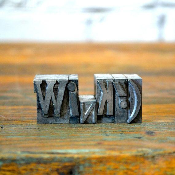 Wink  Vintage letterpress metal type collection  home by sayasnest