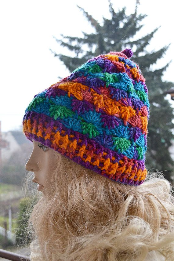 Crocheted muticolor cap  hat lovely warm autumn by DosiakStyle