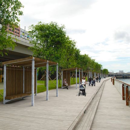 modern pergola for public space in wood and steel