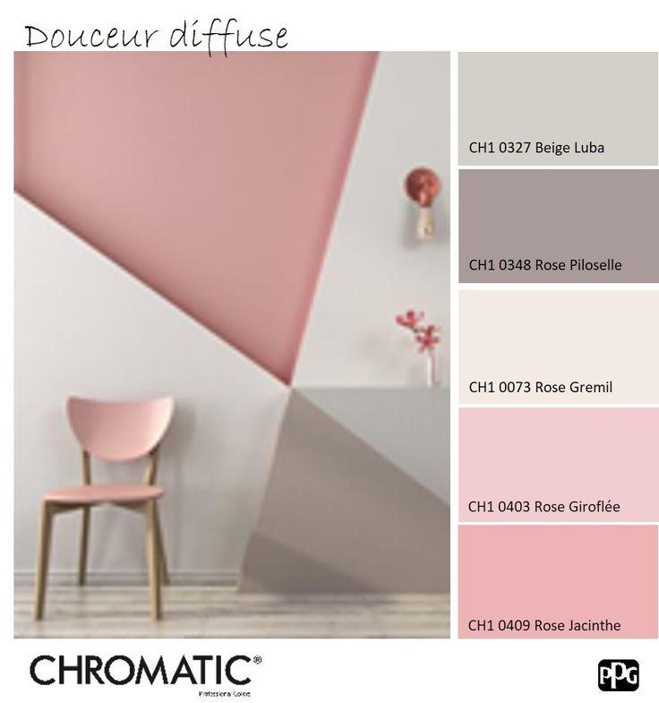 Le #rose pastel évoque une atmosphère douce et apaisante. Ici les formes géométriques apportent le côté dynamique. www.chromaticstore.com