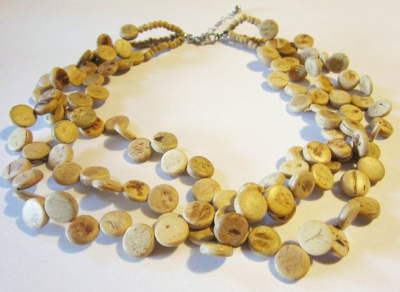 Vintage 3 Strand Chunky Wood Necklace jewelry   by NewUsedVintage, $20.00