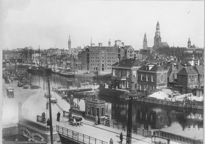 Groningen<br />De stad Groningen: Westerhaven.. gezien vanaf Fa. Stokvis ca 1929