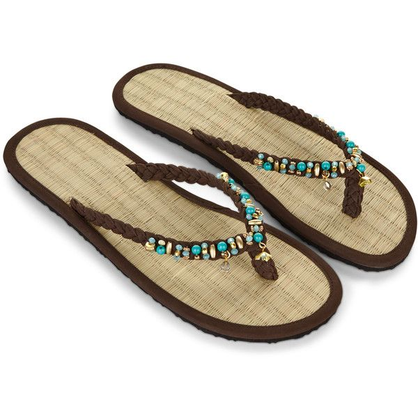 Accessorize Mint Choc Chip Seagrass Flip Flops ($23) ❤ liked on Polyvore featuring shoes, sandals, flip flops, bohemian style shoes, boho style shoes, mint green flip flops, boho sandals and beaded shoes