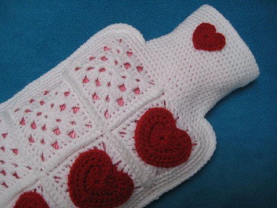 Hot water bottle cover hearts Granny Square crochet handmade Valentines Day gift