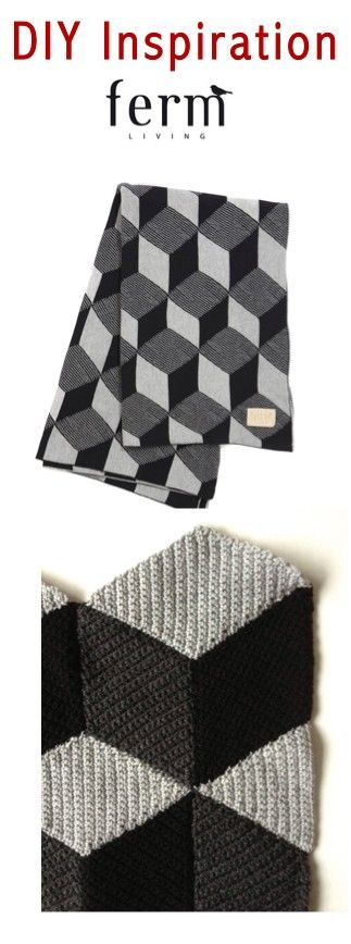 DIY Geometrical Crochet Blanket in the style of Ferm Living -- Dutch tutorial on http://www.jellina-creations.nl/2/post/2012/03/patroontje-ruit.html