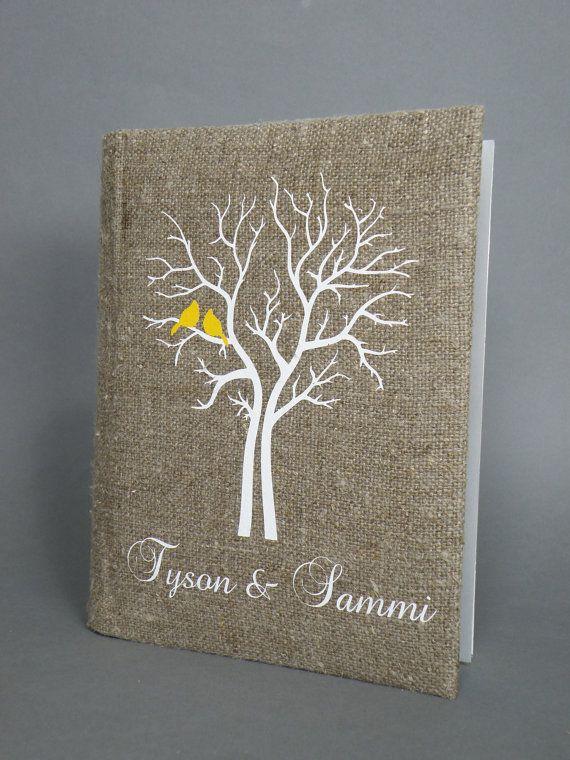 Wedding rustic photo album burlap Linen Bridal shower anniversary Yellow Cardinals on the white Tree via Etsy